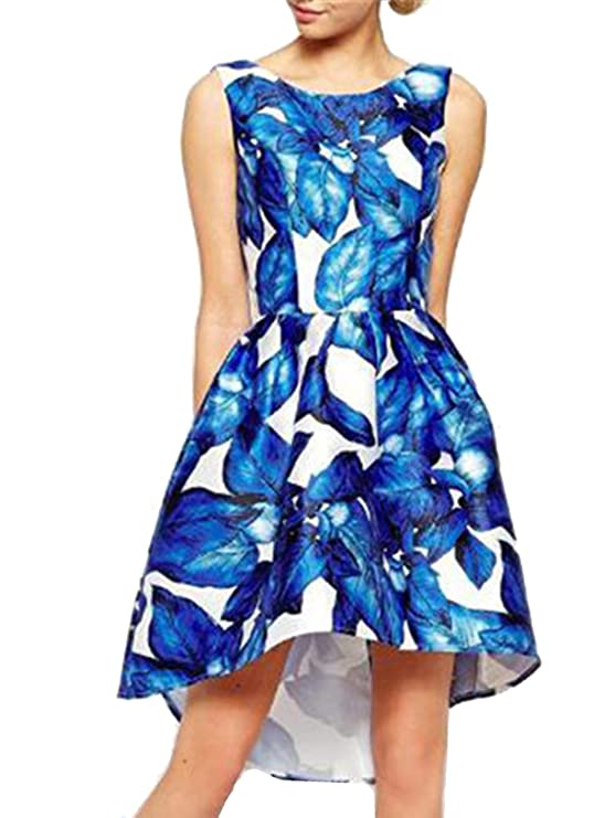 SheIn Women's Blue Sleeveless Leaves Print High Low Party Dress