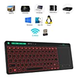 Rii K18 3-LED Color 2.4GHz Wireless Keyboard with Build-in Large Size Touchpad Mouse,Rechargable Li-ion Battery for PC,Google Smart TV,KODI,Raspberry Pi2/3, HTPC IPTV,Android Box,XBMC,Windows 2000 XP (Color: black)
