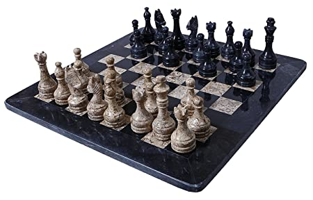 Handmade Black and Coral Marble two player Chess Game Marble Chess Set Chessboard___Main noir et Coral Marbre Marbre deux joueur d'échecs de jeu d'échecs échiquier_