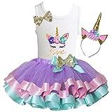 Kirei Sui Girls Lavender Pastel Satin Trimmed Tutu Birthday Unicorn M Five (Color: Five, Tamaño: M (5-6Y))