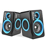 Surround Computer Speakers with Deep Bass,Reccazr SP2040 USB Wired Powered Multimedia Speaker for PC/Laptops/Smart Phone Built-in 4 Loudspeaker Diaphragms-Blue (Color: BLUE, Tamaño: small)