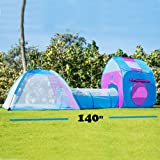Unicorn Kids Play Tent with Tunnel - 3-in-1 Playhut Hours of Indoor Outdoor Fun Popup X-Large Ball Pit for Children (Pink and Blue) (Color: Pink)
