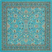 "Unique Loom 3134491 8 Feet 0 Inches (8 0"" Square) Kashan Area Rug, 8 x 8, Turquoise"