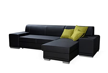 VERANI TWIN black faux leather large corner sofa bed couch with storage living room furniture sofas couches