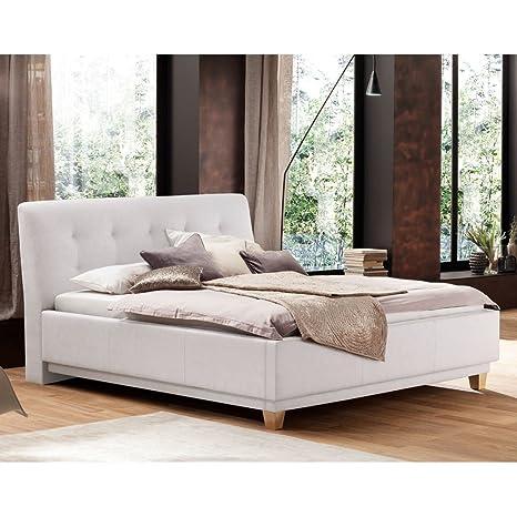 Polsterbett Kunst-Lederbett Doppelbett Bettgestell Bett 180x200 cm Komforthöhe Roswin, Farbe:Weiß