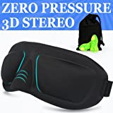 Sleep Mask AMAZKER Lightweight Upgraded Contoured & Comafortable & Ear Plugs Includes Carry Pouch for Eye Mask and Ear Plugs - for Sleeping Travel Shift Work & Meditation for Men and Women(AM-E) (Color: Black)