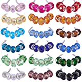 PH PandaHall 1 Box 144 PCS 18 Color Handmade Glass European Beads Faceted Rondelle Large Hole Beads 14x8mm for Jewelry Making (Color: 18 Color Rondelle Beads)