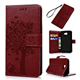 J5 Prime Case,Galaxy J5 Prime Case - Wallet Case Folio Stand Case 3D Embossed Tree PU Leather Case Shockproof TPU Inner Bumper Card Slots Hand Strap Slim-Fit Protective Cover by Badalink - Red (Color: Red)