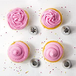 2D 1M 4B 1A large stainless steel icing piping frosting nozzle tip set for baking and cake cupcake decorating supplies (Color: Stainless Steel)