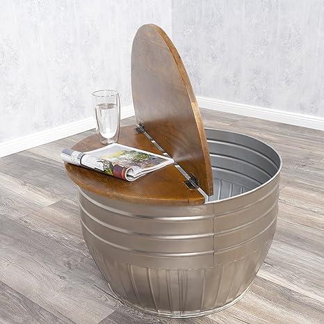 Couchtisch TAN Stone-S Mangoholz Metall Industrie-Design Beistelltisch 60cm rund