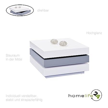 Moderner Couchtisch hochglanz quadratisch weiß und grau drehbar