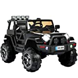 Uenjoy Ride on Car 12V Children's Electric Cars Motorized Cars for Kids with Remote Control, 4 Speeds, Head Lights,Music,Bluetooth Remote Controller,Black (Color: Black)