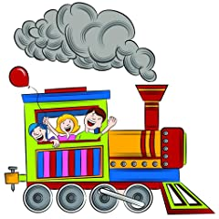 Huge Kid Boy Girl Baby Bedroom Colorful Carnival Train With Waving Happy Family People Balloons & Smoke Wall - Best Selling Cling Transfer Decal 20x20 Color 520