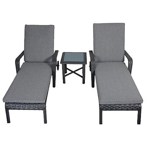 Haiti Rattan Wicker Reclining Sun Loungers & Table Garden Patio Furniture Set