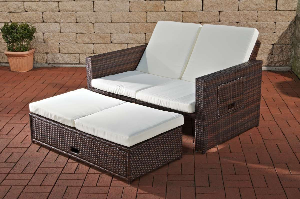 clp flexibles poly rattan 2er lounge sofa ancona alu gestell ausziehbare fu bank 7 farben 3. Black Bedroom Furniture Sets. Home Design Ideas