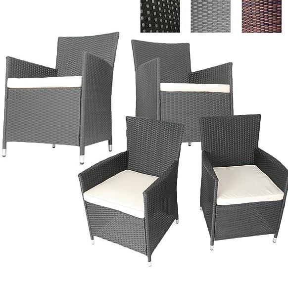 Set di 4 sedie in rattan sintetico - comoda poltrona da giardino con cuscino, disponibile in diversi colori
