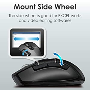 ELECOM-Japan Brand-Wireless Mouse Dual Series/Hardware Macro/Side Wheel & High-Speed Scroll/Ultimate Blue Sensor / 6Button / Medium Size/Black/M-DWM01DBBK (Color: 23.Hardware Macro Side Wheel High-Speed Scroll Ultimate Blue optical sensor Medium Size / 6Button (, Tamaño: Medium)