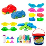 44Pcs Play Dough doh Tools Playsets with Clay Molds Bucket for Party Favor Supplies Pinata Goodie Bag Fillers Classroom Carnival Prizes (Color: Multicolored)