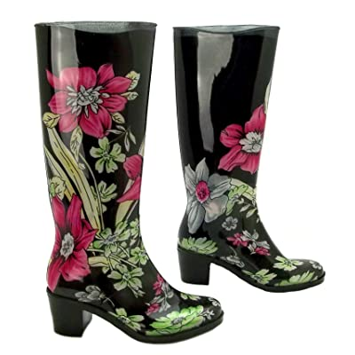 Generic Womens Flowers Black Floral Flower Print High Heel Rubber Wellington Boots Wellies