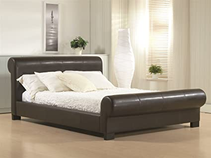 Time Living Valencia 6ft Super King Size Brown Faux Leather Bed Bed Frame Only