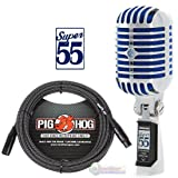 Shure Super 55 Deluxe Vocal Microphone & Pig Hog Black & White Woven Mic Cable, 20ft XLR - Bundle (Color: wood314, Tamaño: Bluetooth Headphones-2_modelEar601)