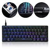 GMSP GK61 61 Key USB Wired LED Backlit Axis Gaming Mechanical Keyboard for Desktop (Color: bn, Tamaño: Free Size)