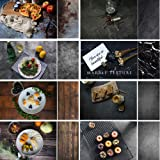 Evanto 22x35Inch Darkness Background Kit for Food Photogarphy and Video, Flat Lay Backdrops, Black Cement & Marble &Wood Texture (Color: 4 pcs)