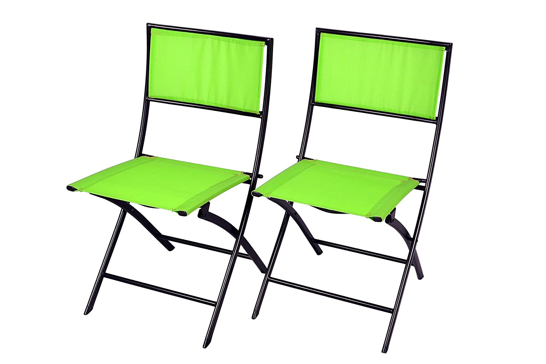 Gartenstuhl 2er Set Faltstuhl Campingstuhl Klappstuhl Stuhl Stahl mit Textilene grün