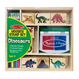 Melissa & Doug Wooden Stamp Set - Dinosaurs (Arts & Crafts, Sturdy Wooden Storage Box, Washable Ink, 14 Pieces, Great Gift for Girls and Boys - Best for 4, 5, 6, 7 and 8 Year Olds) (Color: Dinosaur, Tamaño: NO SIZE)