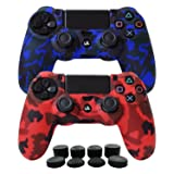 Hikfly Silicone Gel Controller Cover Skin Protector Compatible for Sony Playstation 4 PS4/PS4 Slim/PS4 Pro Controller (2X Controller Camouflage Cover with 8 x FPS Pro Thumb Grip Caps)(Red,Blue) (Color: Blue, Red, Tamaño: PS4 Print Style)