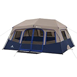 Ozark Trail 10-Person 2-Room Instant Cabin Tent + 4-Pack Basic Mesh Chair + 2-Pack Intex Queen 8.75