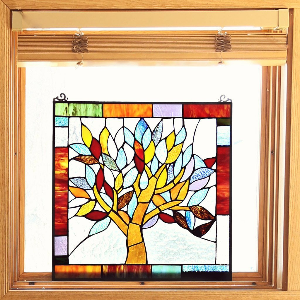 River of Goods 15042 Tiffany Style Stained Glass Mystical World Tree Window Panel 18