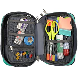 Pencil Case, Homecube Large Capacity Pen Bag Makeup Pouch Durable Students Stationery Two Big Pockets with Double Zipper, 8.7x6x3.2 (Green)