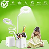led Desk Lamp, Table Lamps with Shelves Holder USB Charging Port, Touch Control Dimmable White Study Reading Book Lamp Eye-caring Light Night, Flexible Gooseneck Office Task lamp for Bedroom Bedside (Color: White)