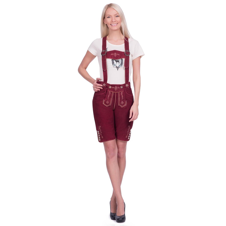 Damen Trachten Lederhose kurz in bordeauxrot aus Zigenveloursleder verfügbar in Größe 34 bis 46 online bestellen