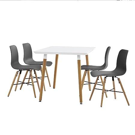 [en.casa]® Juego de comedor - mesa blanca 120 x 80 x 75cm + sillas grises 80 x 44,5cm
