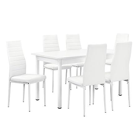 [en.casa]® Esstisch weiß 140cm x 60cm x 75cm + Stuhle weiß 96 cm x 43cm