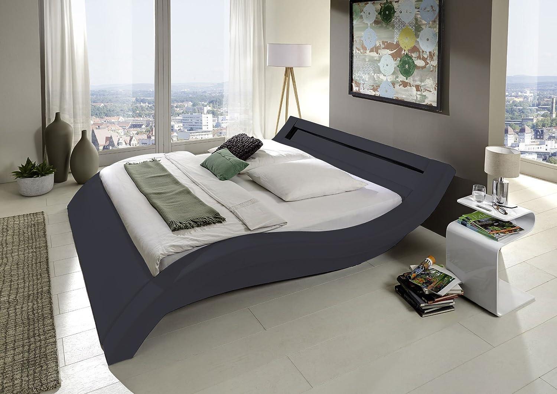 Design Polsterbett 200 x 200cm grau mit LED Beleuchtung günstig