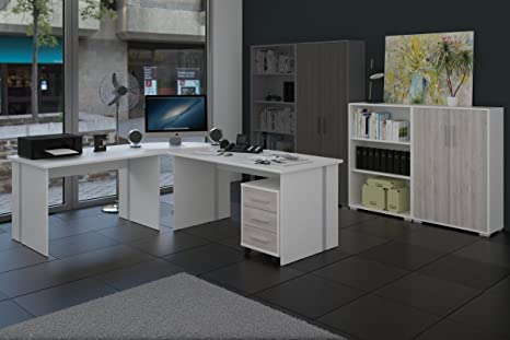Arbeitszimmer 6-teiliges Buromöbelset Weiß mit Eiche Sorrento Fronten