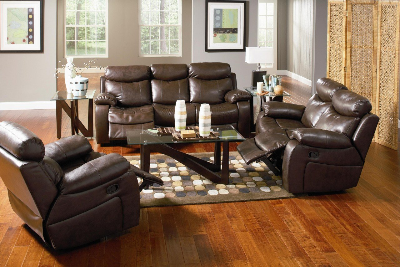 Inland Empire Furniture Caleb Rich Brown Bonded Leather Reclining Sofa and Loveseat with Chair