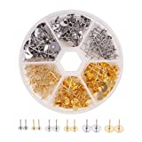 Pandahall Elite 1 Box 300 PCS 3-Size 2-Color Blank Earring Pins 304 Stainless Steel Flat Round Blank Peg & Post Ear Studs Findings (Color: 2-Color Earring Posts, Tamaño: 3 Sizes Earring Posts in Box)
