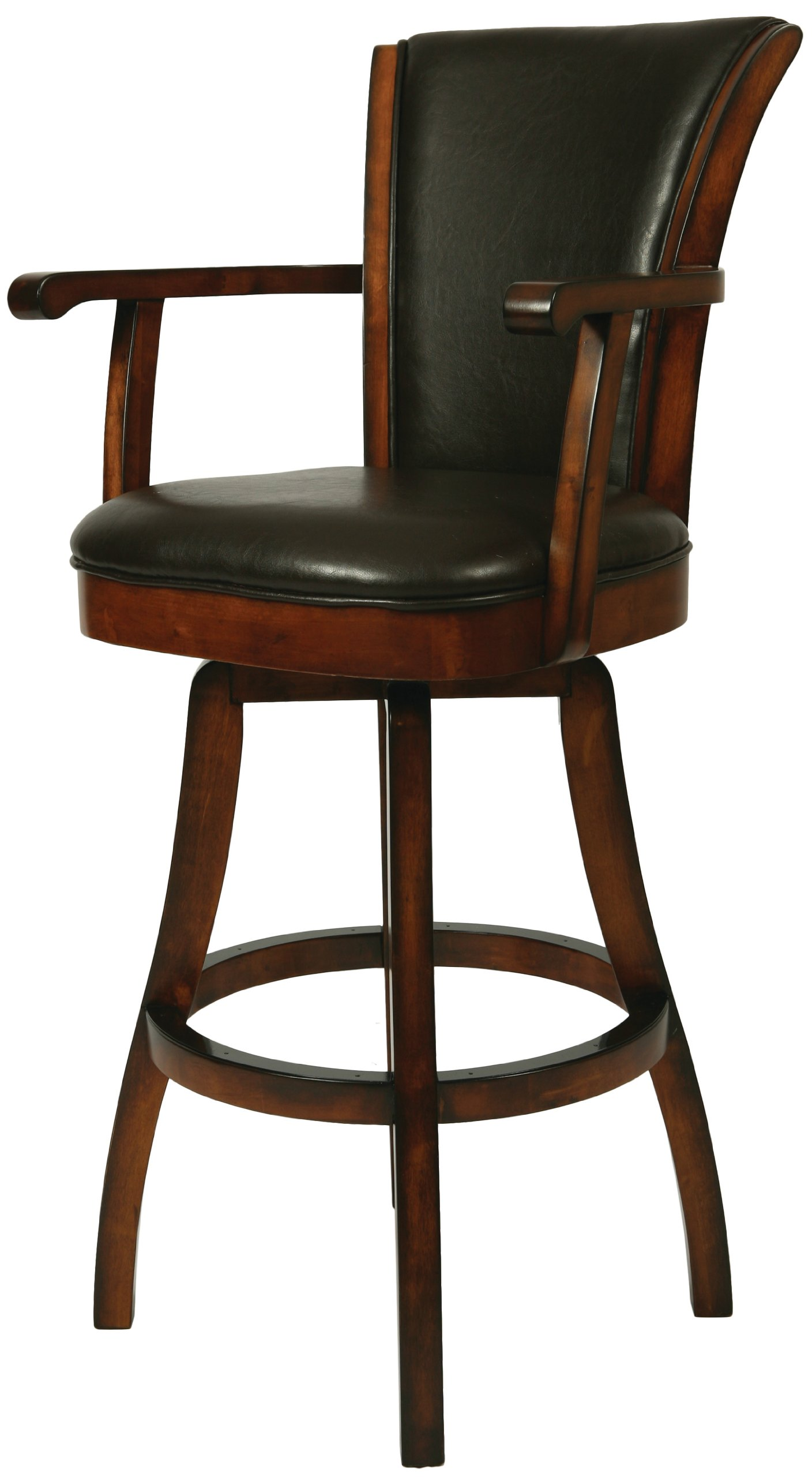 Brown Leather Russet Cordovan Swivel Barstool
