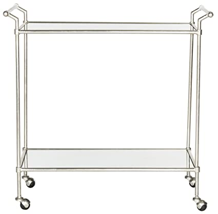 Safavieh Sarah Bar Cart, Metal, Silver/Mirror