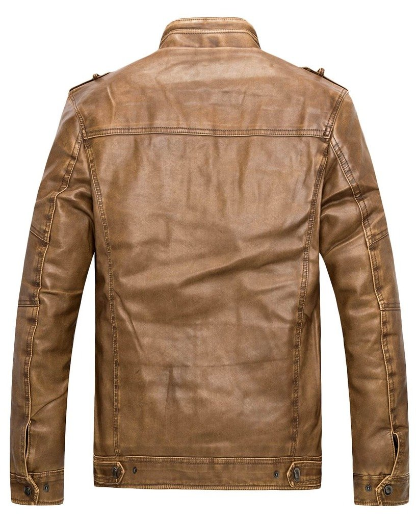 Wantdo Men's Vintage Stand Collar Leather Jacket 1