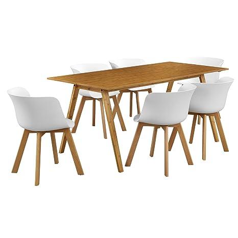[en.casa]® Mesa de comedor con 6 sillas -bambú/blanco 180x80 - mesa de cocina -conjunto de comedor