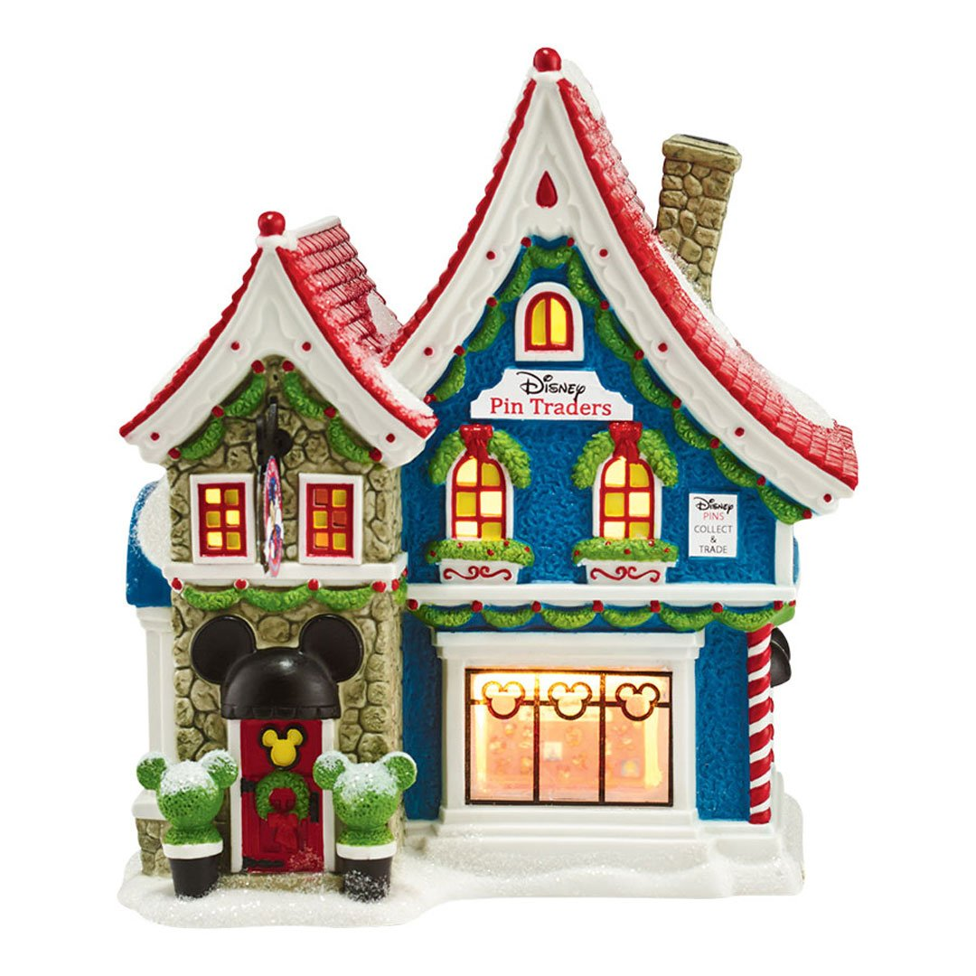 """Department 56 North Pole Series Village Mickeys Pin Traders with Pin Light House, 8.18"""""""