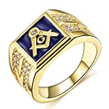Songdetao Men's 18K Gold I.P. Crystal Masonic Blue Lodge Freemason Rings Sz 11 (Color: Blue)