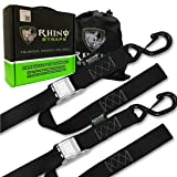 RHINO USA Tie Down Straps (2 Pack) Cambuckle Tiedown Set with Integrated Soft Loops - Lab Tested 3,328lb Break Strength - Better Than Ratchet Straps - Motorcycle Tie Down With Hooks