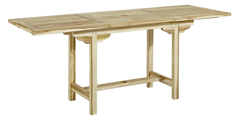 Trendy-Home24 ausziehbarer Teakholz Esstisch 180/240 x 100 x 75 cm eckig großer Gartentisch Massivholz Teaktisch