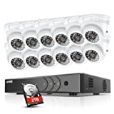 ANNKE 16-Channel 720P Video Security System DVR with 2TB Hard Drive and (12) HD 1280TVL Indoor/Outdoor Cameras with IP66 Weatherproof Housing, 66ft Super Night Vision